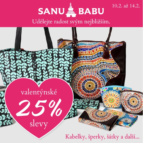 Webový banner pro akci Valentýn SANU BABU