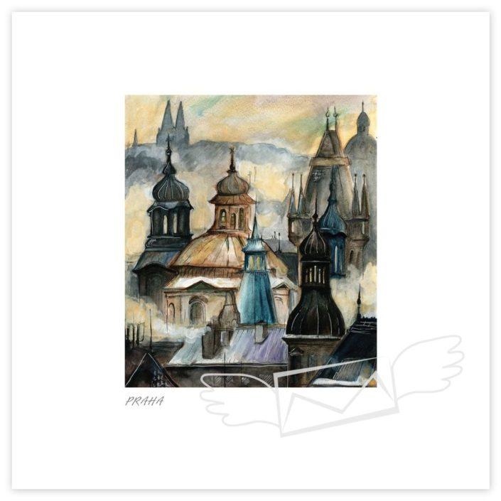 Návrh na pohlednici pro Maria's Mail, Praha, akvarel