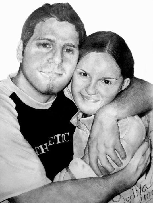 Kresba portrétu podle fotografie, A1, tužka