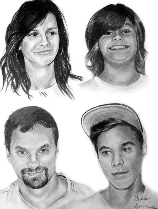 Kresba portrétu podle fotografie, A2, tužka