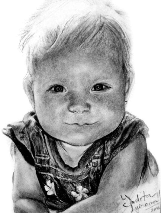 Kresba portrétu podle fotografie, A4, uhel
