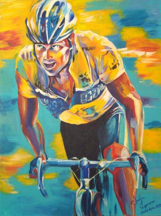Malba cyklista, akryl na plátno