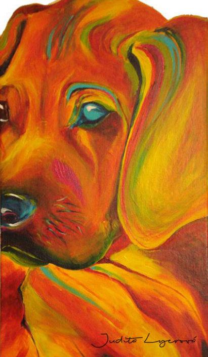 Malba pes, akryl na plátno