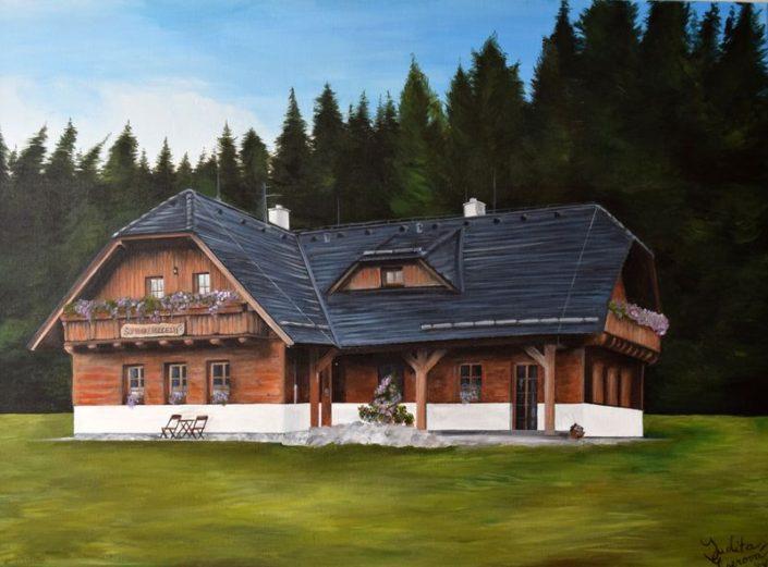Malba penzion Šumavské rozcestí, akryl na plátno