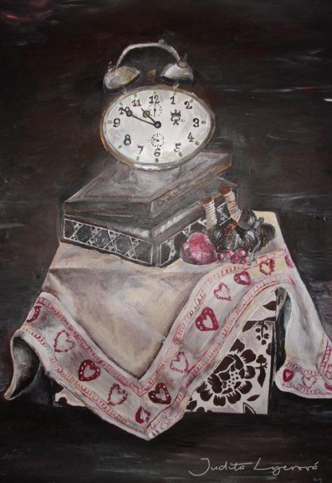 Malba zátiší, akryl na plátno