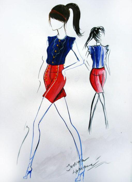 Módní návrh na téma Paříž, akvarel