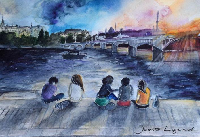Návrh na pohlednici pro Maria's Mail, náplavka, akvarel