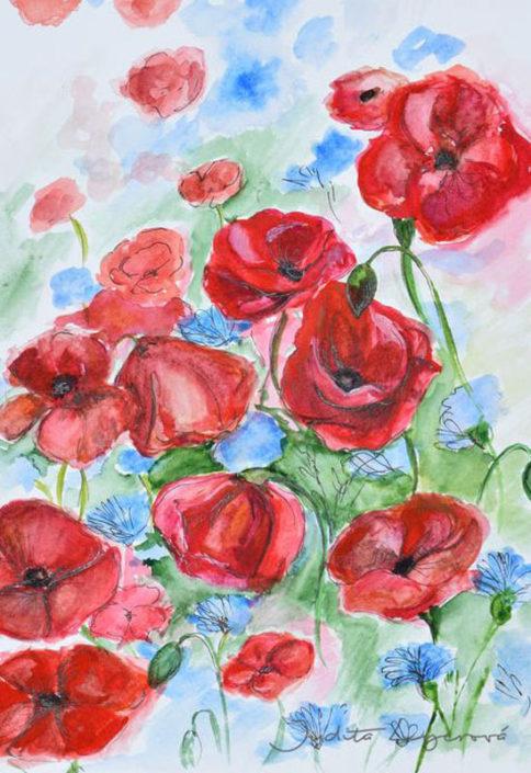 Návrh na pohlednici tulipány, akvarelNávrh na pohlednici pro Maria's Mail, tulipány, akvarel