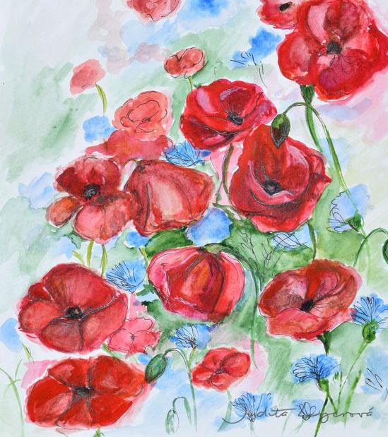 Návrh na pohlednici pro Maria's Mail, tulipány, akvarel
