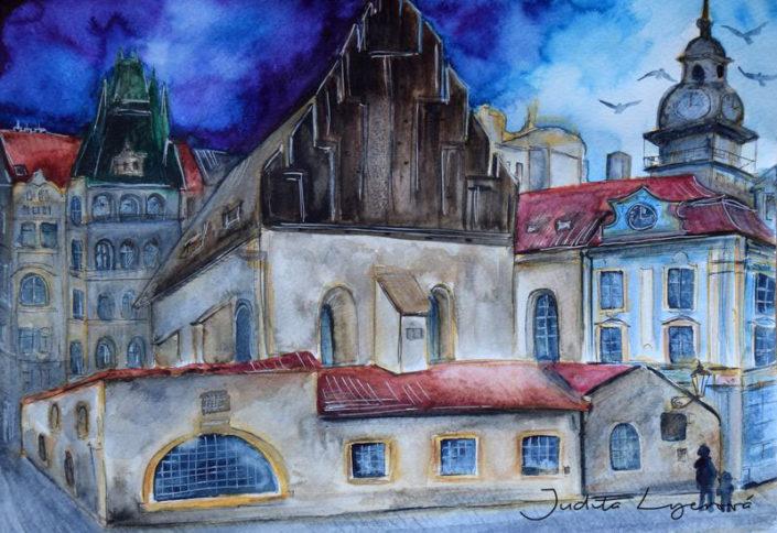 Návrh na pohlednici pro Maria's Mail, Židovské město, akvarel